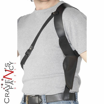 Cop Leather Look Shoulder Holster Cowboy Police Adult Mens Fancy Dress Accessory