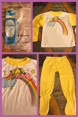 1970s New Vintage Girls 2 Pc Yellow White Pajamas Long Sleeve Footed Sz 6X