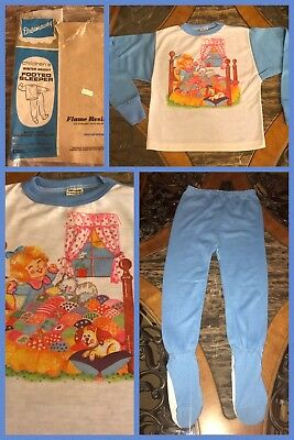 1970s New Vintage Girls 2 Pc Blue White Pajamas Long Sleeve Footed Sz 8