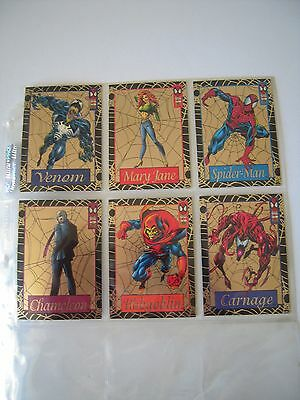 The Amazing Spiderman  Set  Complet De 6 Gold Web  Cards  Rare 1994 Tbe