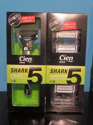 Cien Shark Mens 5 Blade Razor & Refill Cartridges