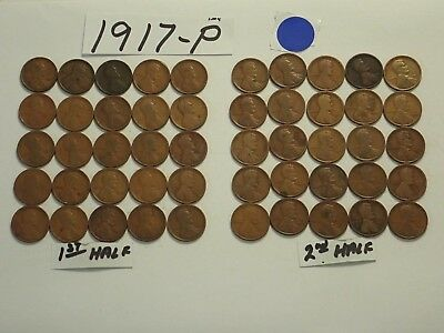 1917-P Solid Date Pennies=Roll 50 Lincoln Wheat Cents