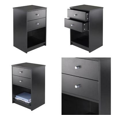 Black Nightstand Two Drawer Bedside Table Furniture End Side Night Stand  Bedroom