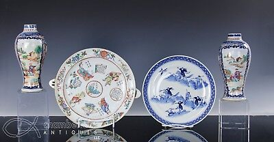 Nice Lot Of Antique Chinese Porcelain Warming Plate Dish Vases W Westerners