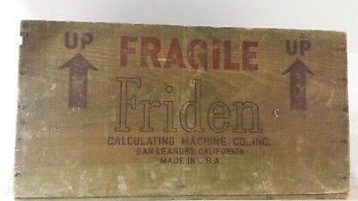 Friden calculator box old wooden shipping box packing Holzkiste alt vintage USA