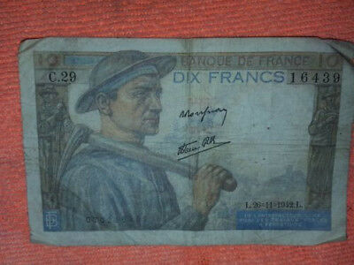 1942 10 Franc Bank note w/ Miner front Peasant Woman back Dix Francs Currency