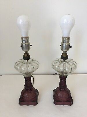 Pair Antique Amethyst & Clear pressed Glass Converted Vanity Table Lamps (WBC)