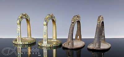 Lot Of Four Old Chinese Bronze And Cloisonne Foot Stirrups