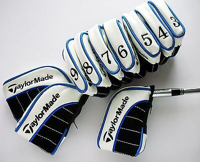 NEW SET OF 10 x TAYLORMADE IRON COVERS FOR ULTIMATE PROTECTION ZIP CLOSURE BLUE