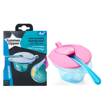 Tommee Tippee Explora Weaning Cool And Mash Bowl Lid And Spoon 4m+ Blue & Pink