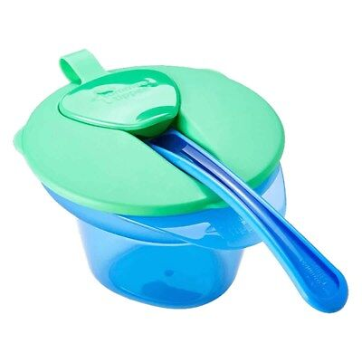 Tommee Tippee Explora Weaning Cool And Mash Bowl Lid And Spoon 4m+ Blue & Green