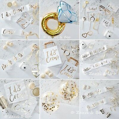 Team Bride To Be Hen Party I Do Crew Hen Night Supplies Accessories Gold White