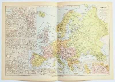1895 Large Antique Europe Map - France - England - Italy - Russia -  Vintage Map