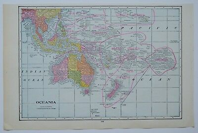 New Zealand Australia Map.Vintage Oceania Map Antique Australia Map New Zealand Fiji Polynesia