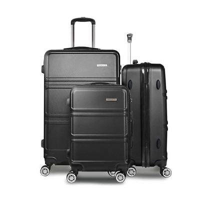 3PC Luggage Set 20'' 24''and 28'' Hard Shell TSA Lock Suitcase Black