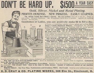 1898 Ad Make Huge Profits with B D Gray Plating Works Gold Silver Nickel Metal