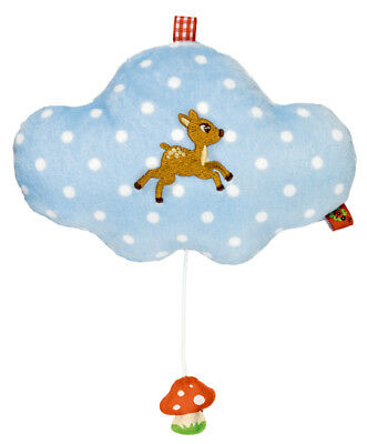 Musical Baby Toy Lullaby Music Box Plush Cloud w. Fawn Newborn Gift Nursery Cot