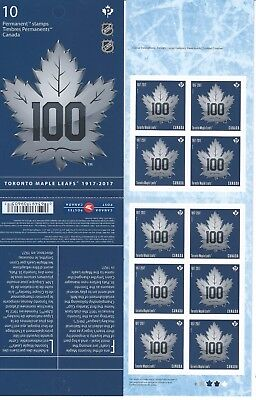 NHL Hockey Centennial Canada Post Stamps Booklet Toronto Maple Leafs 1917-2017