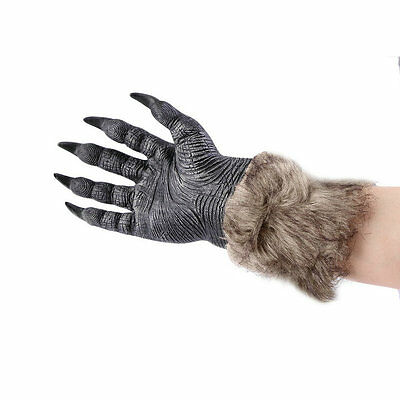 1Pair Halloween Werewolf Wolf Paws Claws Cosplay Gloves Creepy Costume Party EC