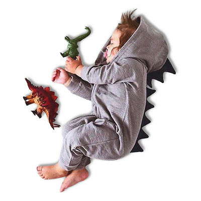 Kids Baby Toddler Conjoined Dress Clothes Cute Dinosaur Pajamas Winter Warm