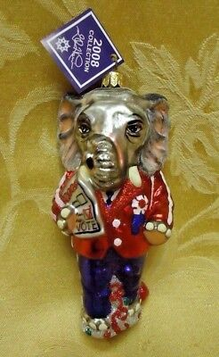 Republican Elephant Slavic Treasures Blown Glass Christmas Tree Ornament Poland