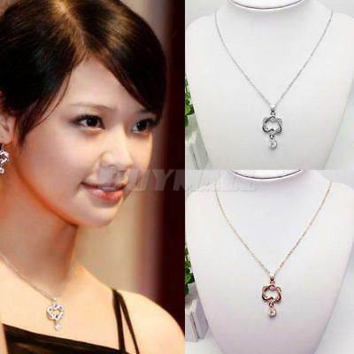925 Silver Plated Fashion Women Double Heart Pendant Necklace Chain Jewelry CHIC