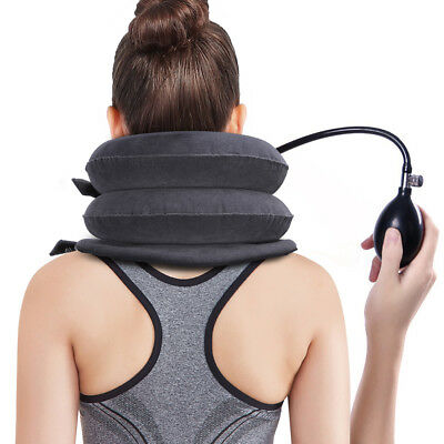 Air Inflatable Pillow Cervical Neck Head Pain Traction Support Brace Device cl