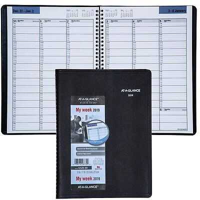"""2019 At-A-Glance DayMinder G520 G520-00 Weekly Appointment Book 8x11"""" Black Cvr"""