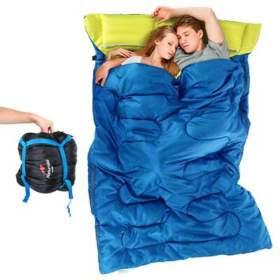 "Double Sleeping Bag Outdoor Wide Camping Hiking 86""x60"" W/2 Pillows 23F/-5C KG"