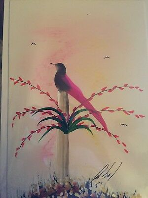 Hand made blank bird greeting card hand painted by artist 1000 artisan crafted hand painted blank bird greeting card with feathers m4hsunfo