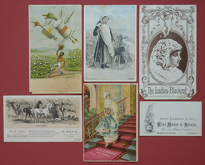 SHOES BOOTS BLACK AMERICANA Victorian Trade Advertising Cards