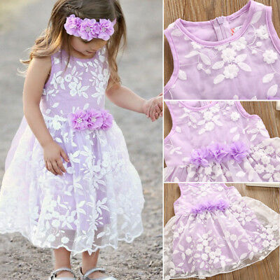 AU Toddler Baby Girl Dress Lace Floral Tulle Party Dress Flower Sundress Outfit
