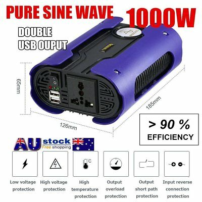 LESHP 1000W 12V to 240V Pure Sine Wave Power Inverter Socket Adapter Dual-USB C@