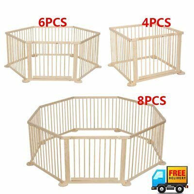 Baby Playpen Wood Frame 4 / 6 / 8 Panels Playard Safety Play Fence Home Wooden