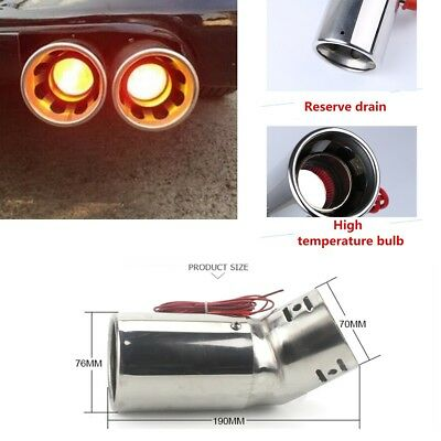Stainless Steel Car Exhaust Pipe End Pipe Tail Throat With Fire Shining Red LED