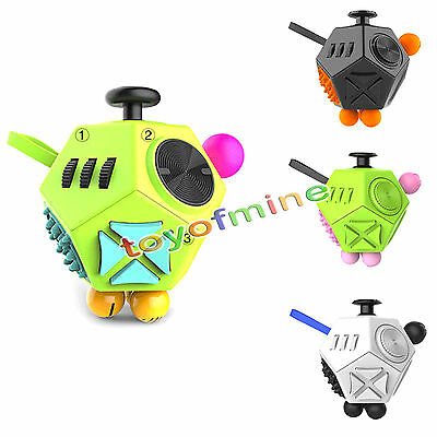 Fidget Cube Toy Ⅱ Anxiety Stress Relief Autism Toy 12-Side For Adults Kids 2017