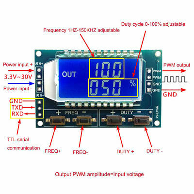 Adjustable PWM Pulse Frequency Duty Cycle Square Signal Generator LCD Module