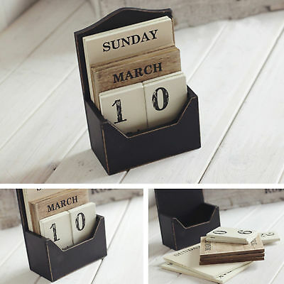 Vintage Wooden Block Perpetual Calendar Desk Accessory Shabby Rustic Chic