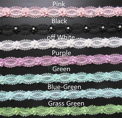 Wholesale 13yards/lot Width 3cm Embroidered Lace Edge Trim Ribbon Sewing Craft