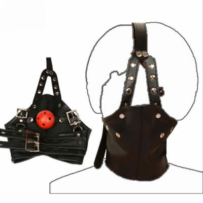 PU Leather Ball Mouth Gag Head Harness Mask bondage Neck collar Restraints