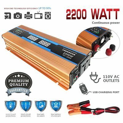 4000W WATT Peak Car LED Power Inverter DC 12V to AC 110V Converter Charger QZ