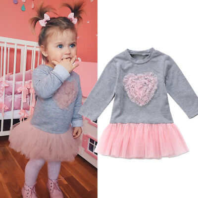 UK Love Kids Baby Girls Long Sleeve Lace Dress Sweatshirt Skirt Outfits Clothes