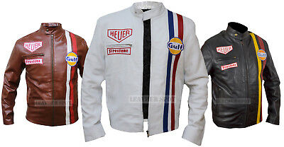 Steve McQueen Le Mans Grand Prix 2018 Gulf Racing Stripes White Leather Jacket