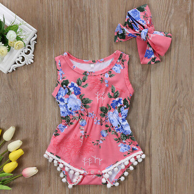 UK 2Pcs Newborn Baby Girl Floral Romper Bodysuit Headband Outfits Summer Clothes