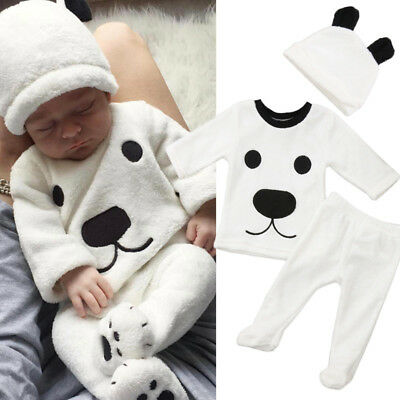 UK 3Pcs Newborn Baby Girl Boys Long Sleeve Top Pants Outfits Fluffy Warm Clothes