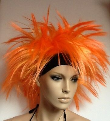 Orange Outrageous Spikey Fancy Dress Wig + Attached Black Headband Punk/Party