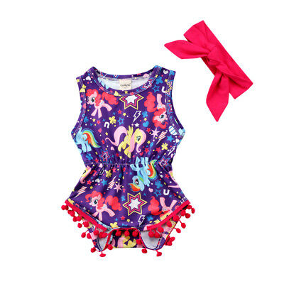 UK Newborn Kids Baby Girls Unicorn Floral Jumpsuit Romper Clothes Outfits Summer