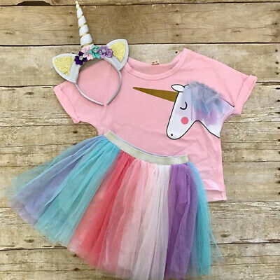 UK 2Pcs Kids Baby Girl Unicorn Top T-shirt Lace Tutu Skirt Outfit Clothes Summer