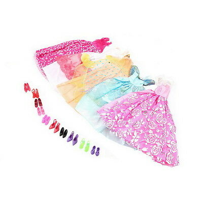 5Pcs Handmade Princess Party Gown Dresses Clothes 10 Shoes For Barbie doll EC
