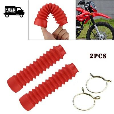 2PCS Motorcycle Black Rubber Front Fork Cover Protector Gaiters Boots Red O